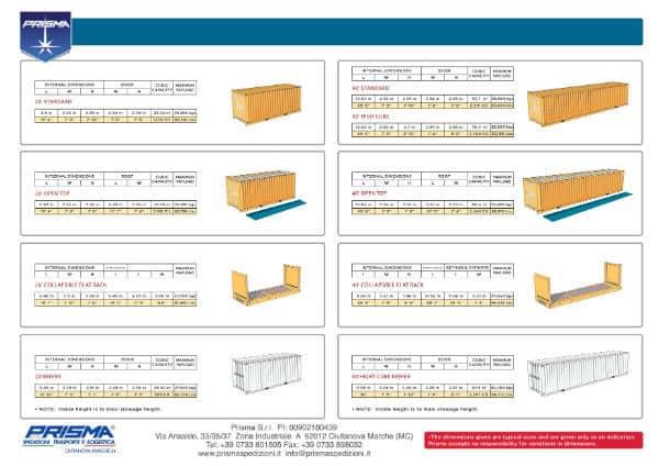 Specifiche Containers Prisma