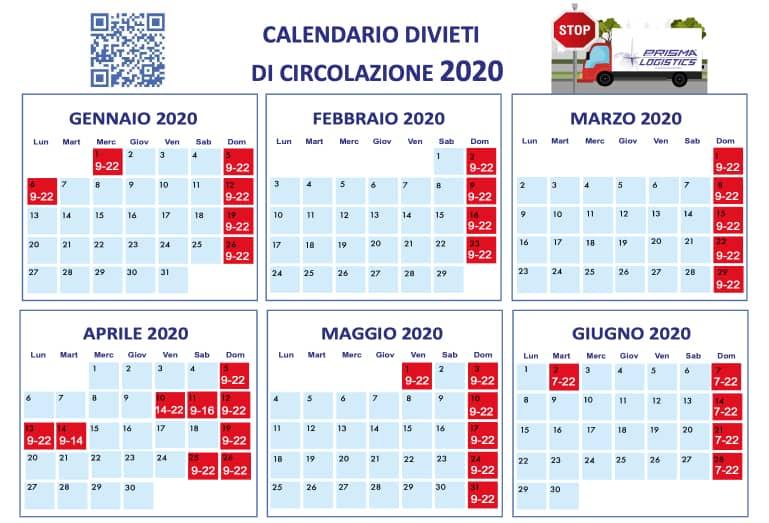 calendario divieti 2020 prisma logistics